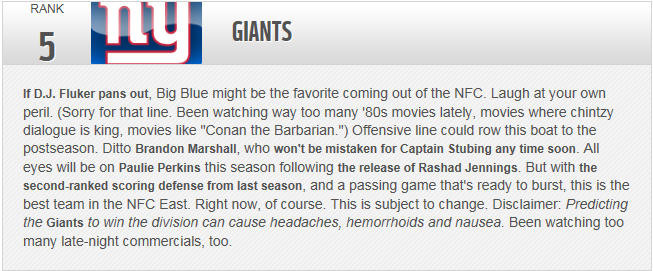 NYG preseason rankings